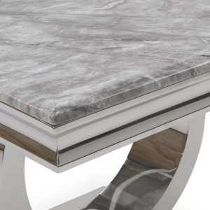 200cm Dining Table Set - Chrome & Grey Marble - 6 Chairs