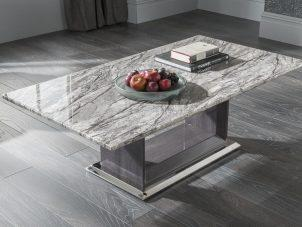 Coffee Table - High Gloss Base & Marble Top - Contemporary Coffee Table - 130cm