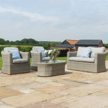 Garden 4 Piece Sofa Set - Grey Polyweave - All Weather