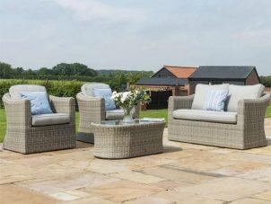 4 Seater Garden Sofa Set - Coffee Table - 2 Chairs - Grey Polyweave