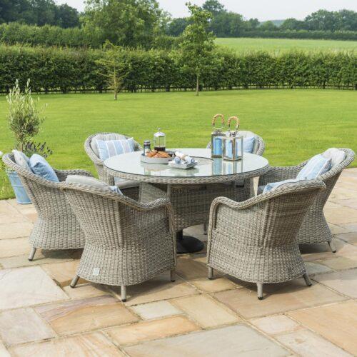 6 Seat Round Garden Table Set - Inset Ice Bucket - Umbrella/Base- Grey Polyrattan