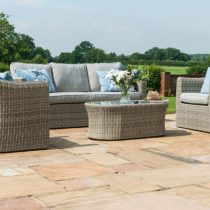 Garden Sofa Set - 5 Seats - Coffee Table - All Weather Grey Polyweave