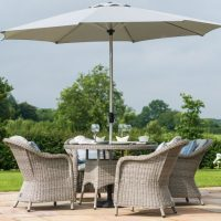 4 Seat Round Garden Table Set - Inset Ice Bucket - Umbrella & Base - Grey