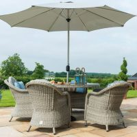 6 Seat Round Garden Table Set - Inset Ice Bucket - Umbrella - Heritage Chairs - Grey