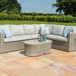 6 Seat Corner Garden Sofa Set - Coffee Table - Grey Poly Rattan