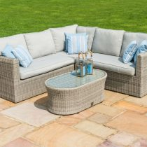 Medium Corner 5 Seat Garden Sofa Set - Grey Polyrattan