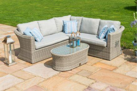 Garden Sofa Set - Corner 5 Seat Garden Sofa Set - Small - Grey Poly Rattan