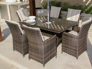 6 Seater Rectangular Dining Set - Ice Bucket - Parasol & Base - Brown Polyweave