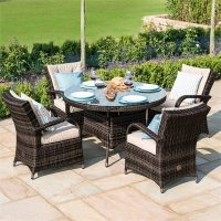 4 Seater Round Garden Dining Set - Umbrella & Base - Brown Poly-Weave