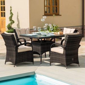 4 Seat Square Garden Dining Set - Brown Poly-Weave