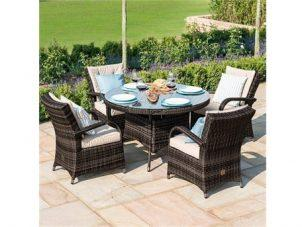 4 Seater Round Garden Dining Set - Brolly & Base - Brown Poly-Weave
