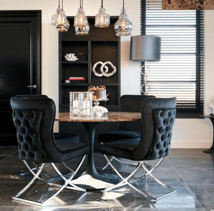 Khaki Velvet Deep Buttoned High Back Dining Chair - Chrome Legs