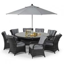 Texas 8 Seater Round Dining Set -Lazy Suzy - Umbrella & Base - Grey Weave
