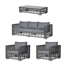 5 Seat Garden Sofa Set - Glass Top Coffee Table - Grey Polyweave Rattan