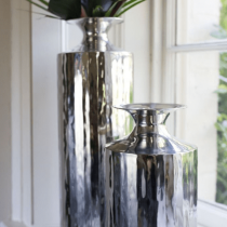 Large Hammered Stainless Steel Empire Vase - Culinary Concepts