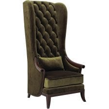 Deep Crystal Buttoned Tall Porters Chair & Cushion - Green Velvet