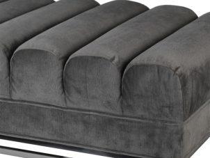 Ottoman - Deep Ribbed Design - Silver Grey Velvet Fabric