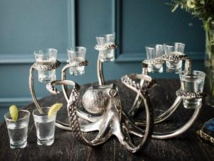 Octopus Shot Glasses - Octopus Stand - Chrome Shot Glass Holder