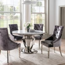 'Adriatic' Chrome & Marble Contemporary Round Dining Table -130cm - Grey
