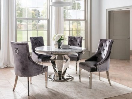 130cm Round Dining Table Set - Chrome Base & Marble - 4 Velvet Chairs