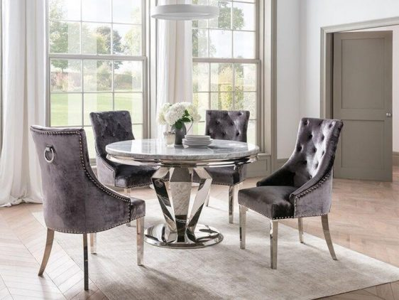 130cm Round Dining Table Set - Chrome Base & Marble - 4 Velvet Chairs