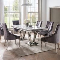 200cm Marble Top Dining Table Set - Chrome Base & Grey Marble - 6 Velvet Chairs