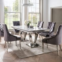 160cm Dining Table Set - Chrome & Grey Oblong Marble - 4 Chairs