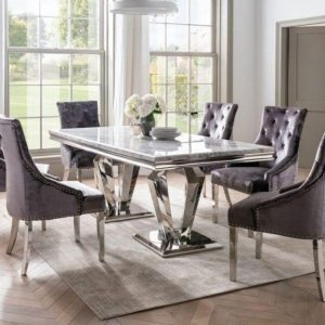 180cm Dining Table Set - Chrome & Grey Oblong Marble - 6 Chairs