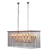 Chandelier - 21 Light Large Cut Crystal - Chain Mail Oblong Chandelier