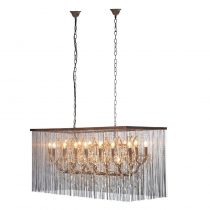 Cut Crystal Glass & Chain Mail Oblong Chandelier