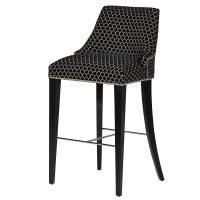 Black Velvet & Silver Fabric Chrome Studded High Back Bar Stool - Chrome Foot Bar