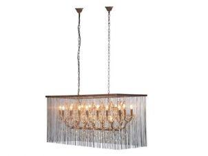 Chandelier - 21 Light - Cut Crystal & Chain Mail Design - Oblong