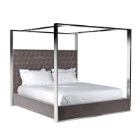 6ft Super King-Size Bed - Chrome Surround 4 Poster Bed - Mouse Grey Velvet