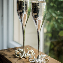 Set Of 2 Octopus Based Silver Champagne Flutes - Culinary Concepts