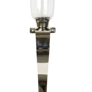 Sleek and elegant, this pair of sconces have that real 'wow' factor. Bold curved stems extend up from solid ball shaped tips and hold aloft a classic glass candle holder. When positioned either side of a fireplace or up a staircase perhaps, the pair of candles radiate a warm light and create an atmosphere befitting of any modern or more traditional living space. Available in large and small, so no matter what size your chosen location, we have a pair to suit.