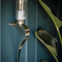 Wall Sconces - Small Chrome Curved Wall Candle Sconces - Glass - Set Of 2