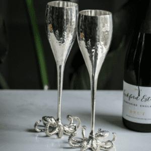 Champagne Flutes - Octopus Design - Polished Silver - Set Of 2