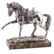 Silver finish carved statue with marble base stand. Heavy and very intricate in design - the picture does not do the item justice! W:27cm x D:12 x H:28 cm