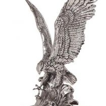 Marble Based Heavy Carved Silver Eagle