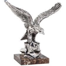 Silver finish carved statue with marble base stand. Heavy and very intricate in design - the picture does not do the item justice! W:22cm x D:36 x H:37 cm