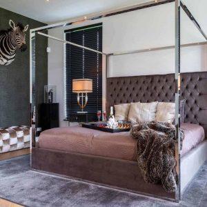6ft Super King-Size Bed - Chrome Surround 4 Poster Bed - Quartz Stone Velvet