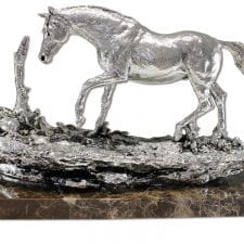 Marble Based Heavy Carved Silver Horse On A Rock - Large