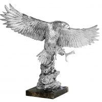 Eagle Statue - Marble Base - Heavy Carved Silver Eagle - Large
