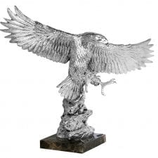 Silver finish carved statue with marble base stand. Heavy and very intricate in design - the picture does not do the item justice! W:49cm x D:34 x H:58 cm