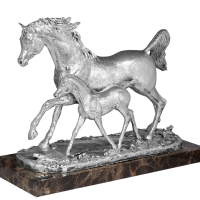 Marble Based Heavy Carved Silver Horse & Mare - Large