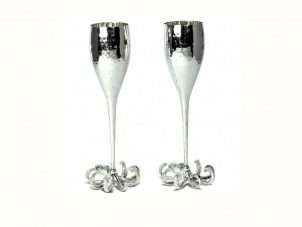 Champagne Flutes - 2 Octopus Design Champagne Flutes - Culinary Concepts