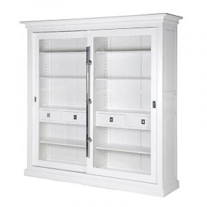 Bookcase/Wall Cabinet - Sliding Glass Door - Large Double Display Cabinet - Dorchester Range White