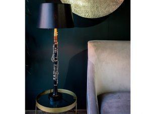 Table Lamp - 'Armstrong' Original Clarinet - Black Gold Inlaid Shade