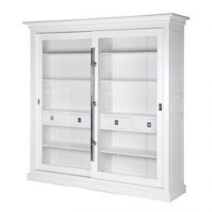 Bookcase/Wall Cabinet - Sliding Glass Doors - Double Display Cabinet - Dorchester White Range