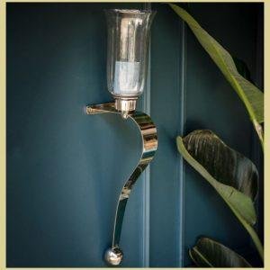 Wall Sconce – Chrome Curved Design – Glass Holder – Set Of 2 - Small